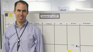 James Felsted, commercial plant manager at Bosch Rexroth's Charlotte, NC, plant captures ideas from its Shark Tank program on a System CIP board.
