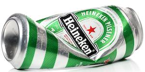 Heineken Beer Can Crumpled Aluminum On White Background Water Drops © Diavata Dreamstime
