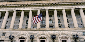 Commerce Department Building Outside Front Pillars © William Perry Dreamstime