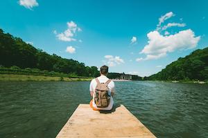 Man On Lake Vera Petrunina