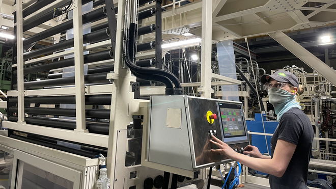 Lesley Burduck coordinates startup and control of extrusion line seven.