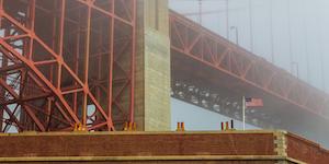 Golden Gate Bridge Fog Usa Flag Beautiful Infrastructure Industrial © Tomasz Wozniak Dreamstime