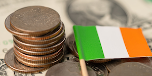 Money Stacks Of Coins Ireland Flag Taxes Trade International © Chormail Dreamstime